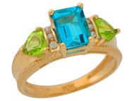 Anillo De Lujo Para Dama Con Topacio Azul Peridoto Y Diamantes Reales En Oro (OM#9908)