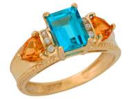 Anillo De Lujo Para Dama Con Topacio Azul Citrine Y Diamantes Reales En Oro (OM#9908)