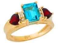 Anillo De Lujo Para Dama Con Topacio Azul Granate Y Diamantes Reales En Oro (OM#9908)