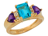 Anillo De Lujo Para Dama Con Topacio Azul Amatista Y Diamantes Reales En Oro (OM#9908)