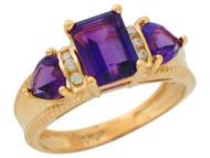 Anillo De Lujo De Dama Con Amatista Acentuado Con Diamantes Genuinos En Oro (OM#9909)