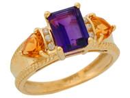 Anillo De Lujo Para Dama Con Amatista Citrino Y Diamantes Genuinos En Oro (OM#9909)