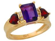 Anillo De Lujo Para Dama Con Amatista Granate Y Diamantes Genuinos En Oro (OM#9909)