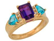 Anillo De Lujo Para Dama Con Amatista Topacio Azul Y Diamantes Reales En Oro (OM#9909)