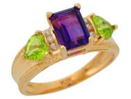 Anillo De Lujo Para Dama Con Amatista Peridoto Y Diamantes Genuinos En Oro (OM#9909)