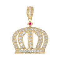 Colgante con Diseño De Corona Adornada con Circonita En Oro (OM#11705)
