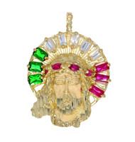 Colgante de Jesus Adornado con Circonita Colores de Mexico En Oro (OM#11706)