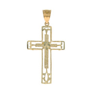 Colgante De Cruz De Lujo con Filigrana En Oro Amarillo De (OM#11707)