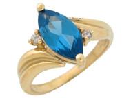 Anillo De Dama Elegante Con Circon Azul Marquesa Simulado Y Circonita En Oro (OM#10590)