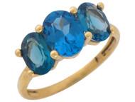 Anillo De Aniversario De Dama Con Tres Piedras De Circon Azul Simuladoen Oro (OM#10598)