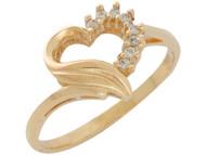 Anillo Lindo Para Dama De Diseno De Corazon Con Diamante Real En Oro De (OM#10599)