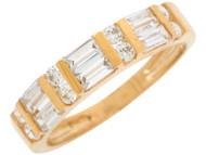 Anillo De Boda Impresionante Con Circonita Blanca En Egaste De Barra En Oro (OM#10879)