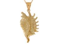 Colgante Con Disenno De Concha De Mar En Oro Amarillo De Alto Brillo (OM#10754)