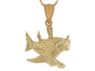 Colgante Disenno De Pez Espantoso Pescado Vida Marina Pesca De Mar En Oro De (OM#10756)