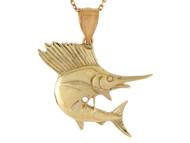 Colgante Disenno De Pez Espada Vida Marina Pesca De Mar Pescado En Oro De (OM#10757)