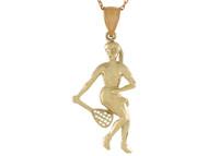 Colgante De Disenno Deportes Dama Jugando Tenis En Oro De Alto Brillo (OM#10758)