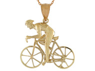 Colgante Disenno Deportes Ciclismo Ciclista Bicicleta De Carrera Fixie En Oro (OM#10770)