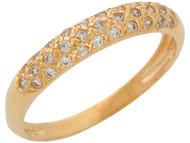 Anillo De Boda Acentuado Con Circonita En Engaste A Nivel En Oro Amarillo De (OM#10864)
