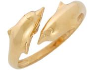 Anillo De Alto Brillo Lindo Para Dama Con Disenno De Delfines Hermosos En Oro De (OM#10858)