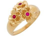 Anillo De Dama Estilo Hermoso De Flores Con Acentos De Rubi Simulado En Oro De (OM#10859)