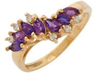 Anillo Elegante Para Dama Con Disenno De Ola Amatista Y Diamantes Reales En Oro (OM#10877)