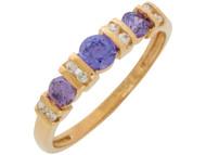 Anillo De Dama Con Amatista Y Diamantes Reales En Engaste De Barra En Oro (OM#10878)