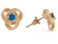 Aretes Modernos Estilo Nudo Celtico Con Zafiro Azul Real En Oro De (OM#10811)