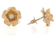 Aretes Hermosos Para Dama Estilo Flor Con Diamante Real En Oro De (OM#10812)