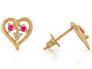 Aretes Deslumbrantes En Forma De Corazon Con Rubi Y Diamante Real En Oro De (OM#10813)