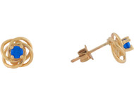 Aretes Estilo Nudo Celtico Con Zafiro Azul Real En Oro Real Amarillo De (OM#10818)