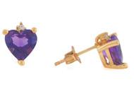 Aretes Lindos Con Amatista Natural En Forma De Corazon Y Diamante En Oro (OM#10819)