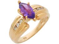 Anillo Clasico Para Dama Con Amatista Y Diamanted Reales En Oro De (OM#10889)
