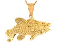 Colgante Con Disenno De Pez Con Boca Abierta Pescado Pesca Vida Marina En Oro (OM#10735)