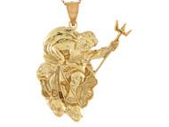 Colgante De Alto Brillo Disenno Del Dios Del Mar Poseidon Vida Marina En Oro De (OM#10746)