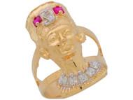 Anillo Diamantado con Aro Partido Estilo De Reina Egypsia Nefertiti En (OM#11029)