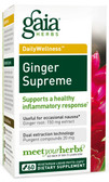 Buy DailyWellness Ginger Supreme 60 Vegetarian Liquid Phyto-Caps Gaia Herbs Online, UK Delivery, Cold Flu Remedy Relief Immune Support Formulas