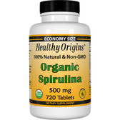 Organic Spirulina 500mg 720 Tabs Healthy Origins, Super Green Food
