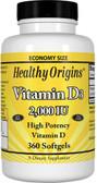 Buy Vitamin D3 2 000 IU 360 sGels Healthy Origins Online, UK Delivery,