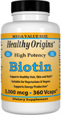 Buy Biotin High Potency 5 000 mcg 360 Vcaps Healthy Origins Online, UK Delivery, Vitamin B Biotin