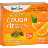 Buy Naturals Cough Drops Orange 18 Drops Herbion Online, UK Delivery, Lung Bronchial Remedy Relief Respiratory Treatment Cough Drops Lozenges
