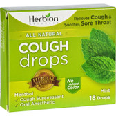 Buy Natural Care Cough Drops Mint 18 Drops Herbion Online, UK Delivery, Lung Bronchial Remedy Relief Respiratory Treatment Cough Drops Lozenges