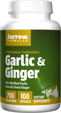 Buy Garlic & Ginger 700 mg 100 Caps Jarrow Online, UK Delivery