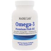 Buy Omega-3 Premium Fish Oil 100 Fish Gelatin sGels Madre Labs Online, UK Delivery, EFA Omega EPA DHA