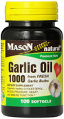 Garlic Oil 1000 100 sGels Mason Vitamins, UK Store