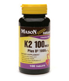 Buy K2 Plus D3 100 mcg/1000 IU 100 Tabs Mason Vitamins Online, UK Delivery, Vitamin K