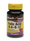 Buy Folic Acid B-6 & B-12 90 Tabs Mason Vitamins Online, UK Delivery, Vitamin B
