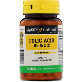 Buy Folic Acid B-6 & B-12 90 Tabs Mason Vitamins Online, UK Delivery, Vitamin B