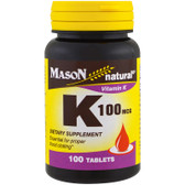 Buy Vitamin K 100 mcg 100Tabs Mason Vitamins Online, UK Delivery, Vitamin K