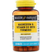 Buy Magnesium & Vitamin D3 with Turmeric 60 Tabs Mason Vitamins Online, UK Delivery, Mineral Supplements