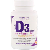 Buy Vitamin D3 with Vitamin K2 Natural Apricot Flavor 5000 IU 90 Sublingual Tabs Michael's